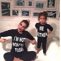 2017 Family Matching clothes long sleeve matching Outfit Mommy daughter cotton clothes familylook Mommy And Me Sweatshirt