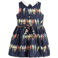 Bryony - Girls Budgies Navy Dress With Collar
