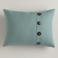 Slate Blue Basketweave Lumbar Pillow with Button