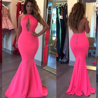 Sexy Rose Red Off The Shoulder Mermaid Prom Gowns Cheap Backless Kaftan Dress Trumpet Long Evening Party Dress vestido de festa