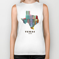 Texas state map modern Biker Tank by Bri.buckley