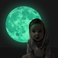 5 Colors 3D Luminous Planet Wall Stickers World Moonlight Glow In The Dark Moon Earth Wall Decals For Kids Rooms Home Decor