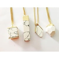 Marble Stone Pendant Necklace