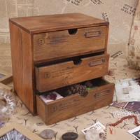 Vintage wooden sundries chest of drawers
