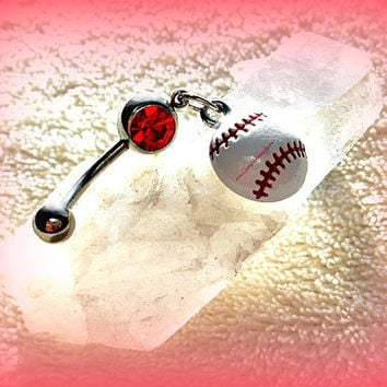 A Belly Ring with a Baseball or Softball , Baseball, Piercing,  Athletic, Athlete, Belly button, Navel, Summer, Beach, Ready to Ship