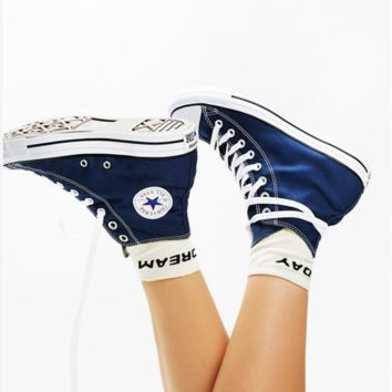Converse All Star Sneakers Adult Leisure  High-Top Leisure shoes Navy blue
