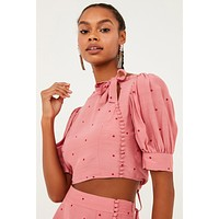 Rosie High Neck Button Up Crop Top - Rose Pink Polka Dot Print