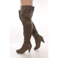 Taupe Faux Leather Thigh High Heel Boots