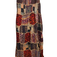 Mogul Interior Womens Patchwork Skirt Vintage Patches Ethnic Peasant Long Skirts S/M