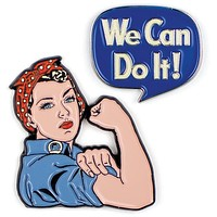 "Rosie Says ""We Can Do It!"" Colorful Enamel Pins Set of 2"