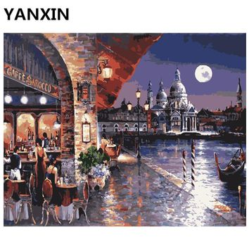 YANXIN DIY Frame Painting By Numbers Oil Paint Wall Art Pictures Decor For Home Decoration E796