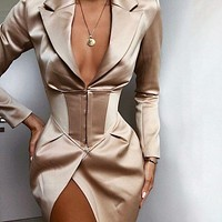 Trendy ladies deep V-neck waist coat sexy split dress