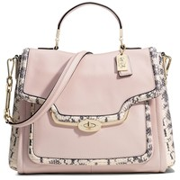 COACH MADISON SADIE FLAP SATCHEL IN TWO-TONE PYTHON EMBOSSED LEATHER