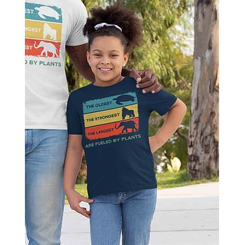 Kids Plant Based Shirt Vegan T Shirt Largest Strongest Oldest Fueled By Plants Vegetarian Gift Idea Boy's Girl's Youth
