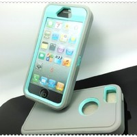 Multi Color Iphone 5 5S Body Armor Silicone Hybrid Cove Hard Case, Three Layer Silicone PC Case Cover for iPhone 5 5S (Grey+Light Blue)