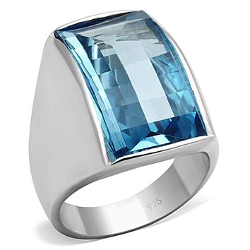 Silver Wedding Rings LOS691 Silver 925 Sterling Silver Ring with Synthetic