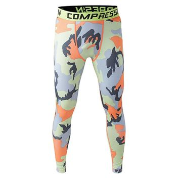 Men Compression Long Pants Running Base Layers Skins Tights Army Camouflage Soccer Joggers Trousers