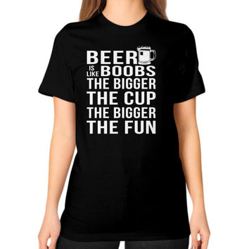 BEER BOOBS Unisex T-Shirt (on woman)