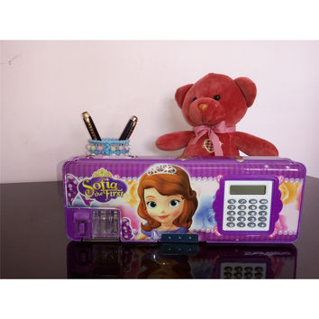 Two-side Magnetic Pencil Box with Calculator Stationery Case   Purple Sofia