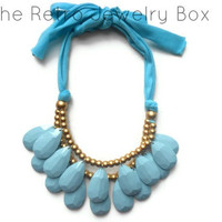Ready To ship Sky Blue Drop necklace Antropologie inspired bib statement necklace Christmas gift Large necklace