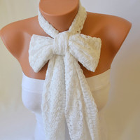lace scarf  - white cotton lace fashion scarf christmas gifts birthday gifts