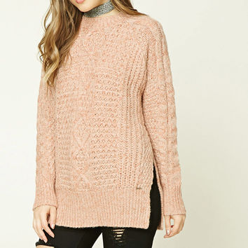 Marled Knit Fisherman Sweater