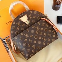 LV  Fashion New Monogram Print Leather Shell Shape Shopping Leisure Crossbody Bag Handbag Book Bag Backpack Bag