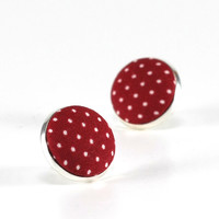 Dark Red Stud Earrings, Garnet Polka Dots Earring Studs, Burgundy Wine Fabric Covered Buttons, Maroon Silver Toned Earring Posts Jewelry