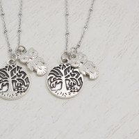 silver owl necklace, silver tree pendant, friendship necklace, christmas, family tree necklace, family gift, mom gift, bridesmaid necklace