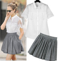 White Floral Lace Buttoned Convertible Collar Blouse and Gray Striped Pleated Mini Skirt