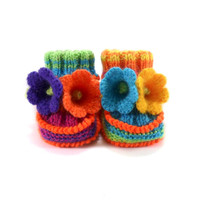 Hand Knitted Baby Booties with Crochet Bell Flowers,  0 - 3 months