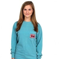 The Mosaic Bow Tie Unisex Long Sleeve Tee Shirt in Ocean Breeze Green by the Fraternity Collection