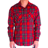 Side Zip Flannel Button Down In Red/Black