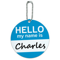 Charles Hello My Name Is Round ID Card Luggage Tag