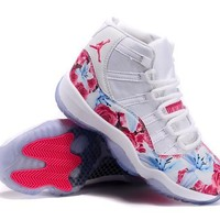 Air Jordan 11 ¡±Flowers¡° Pink / White Basketball Sneaker
