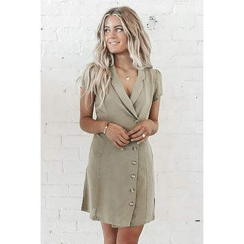 Yes Ma'am Olive Button Down Dress