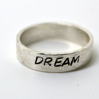 Personalized Jewelry, Hand Stamped Ring, Word Ring, Sterling Silver Stacking Ring