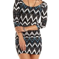 Strappy Back Aztec Bodycon Dress - Bright Turquoise Combo