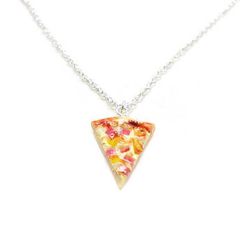 Pizza Necklace, Charm Necklace, Charm Jewelry, Hawaiian Pizza Necklace, Pizza Jewelry, Slice Of Pizza Charm, Pizza Lover, Best Friend Charm