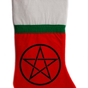 "Woven Pentacle Christmas Holiday Stocking 16"" Red/White Felt Hanging Sock Santa Stuffer Merry Gothmas"