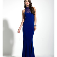 Royal Blue High Neck Sleek Gown