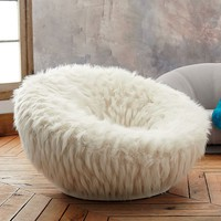 Llama Faux-Fur Groovey Swivel Chair