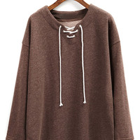 Brown Loose Lace Up Long Sleeve Sweatshirt