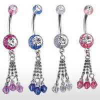 Belly Ring-Crystal Drops