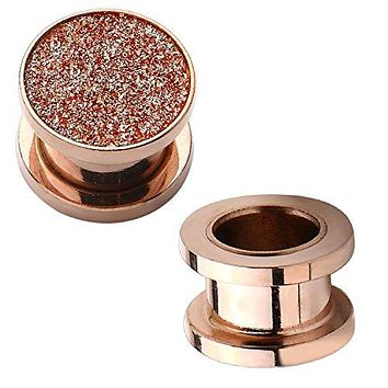 Plugs Screw Fit Tunnels Rose Goldtone Stardust Glitter 8G-00G Ear Body Piercing
