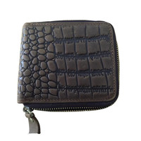 Man's short crocodile pattern crazy horse leather wallet with zipper