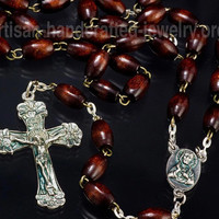 Red Wood Bead Rosary Necklace