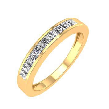 IGI CERTIFIED | 14k Gold Princess Cut 1/4 Carat Diamond Wedding Ring Band (White, Yellow, Rose)