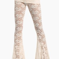 Blow Your Horn Lace Flare Pant - Walking On Eggshells White