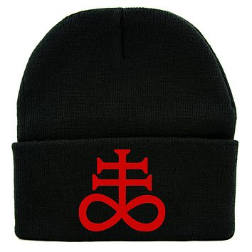 Red Brimestone Leviathan Cross Alchemy Symbol Cuff Beanie Knit Cap Occult Alternative Clothing
